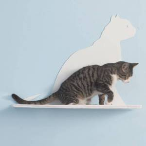 REFINED KIND PET PRODUCTS Cat Silhouette Cat Shelves Gaze Off-White