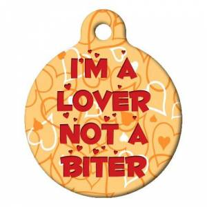 DOG TAG ART Im a Lover Pet ID Tag Large