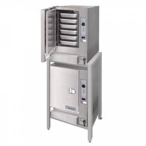 Cleveland 2-22CET66.1 SteamChef 6 Double Deck 12 Pan Electric Floor Steamer - 440/480V, 3 Phase, 24 kW