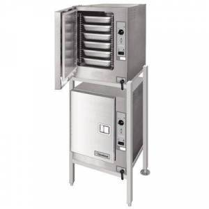Cleveland (2) 22CET6.1 SteamChef 6 Double Deck 12 Pan Electric Floor Steamer - 208V, 1 Phase, 24 kW