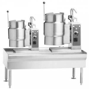 "Vulcan ""Vulcan VEKT64/612 64"""" Table with (1) 6 Gallon and (1) 12 Gallon Electric Tilting Kettle - 208V, 19.5 kW"""