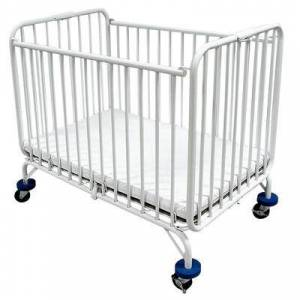 """L.A. Baby """"L.A. Baby Holiday Crib 30"""""""" x 53"""""""" Metal Folding Crib with 3"""""""" Extra Wide Casters"""""""