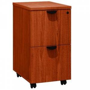 """Boss N149-C Cherry Laminate Mobile Pedestal Letter File Cabinet with 2 File Drawers - 16"""""""" x 22"""""""" x 28 1/2"""""""""""""""