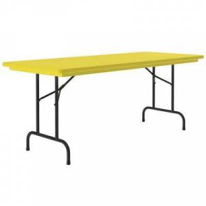 "Correll ""Correll R-Series R3060 30"""" x 60"""" Yellow Plastic Folding Table"""