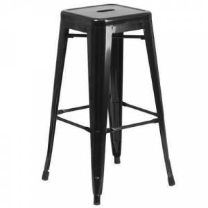 """Flash Furniture """"Flash Furniture CH-31320-30-BK-GG 30"""""""" Black Stackable Metal Indoor / Outdoor Backless Bar Height Stool with Square Drain Seat"""""""