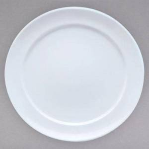 "Villeroy & Boch 16-3275-2797 Marchesi 11 1/4"""" White Porcelain Flat Plate with 8 1/2"""" Well - 6/Case"""