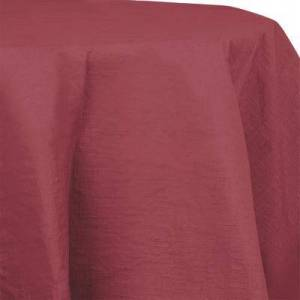 "Creative Labs Converting 923122 82"""" Burgundy OctyRound Tissue / Poly Table Cover - 12/Case"""