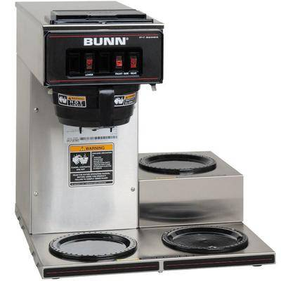 Bunn 13300.0003 VP17-3 Low Profile Pourover Coffee Brewer with 3 Warmers