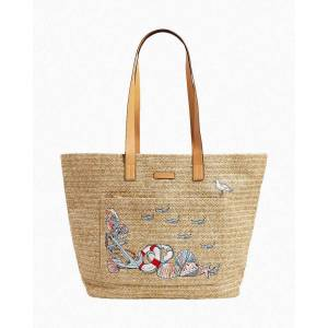 Vera Bradley Front Pocket Straw Tote in Beach Toile