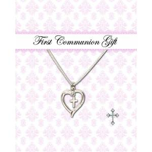 Cherished Moments Sterling Silver Children's Dancing Cross Heart Necklace