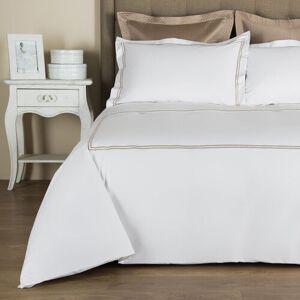 Frette Hotel Classic Duvet Cover - White/Khaki - Twin