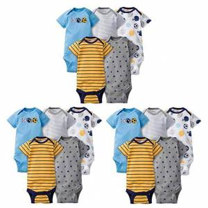 Gerber 15-Piece Grow-with-Me Set Boys Sports Onesies Brand Short Sleeve Bodysuits - ASSORTED