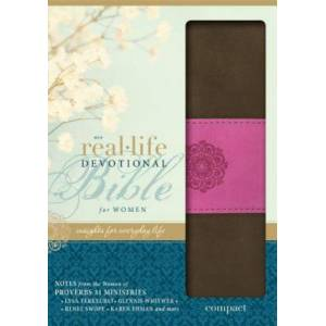 NIV Real-Life Devotional Compact Bible for Women (Chocolate/Orchid Italian Duo-Tone)