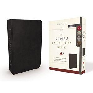 The NKJV, Vines Expository Comfort Print Bible (3376BK - Black Genuine Leather)