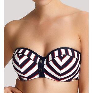 Panache SW1373 Lucille Padded Bandeau Bikini Swim Top (Navy Stripe 38DD)
