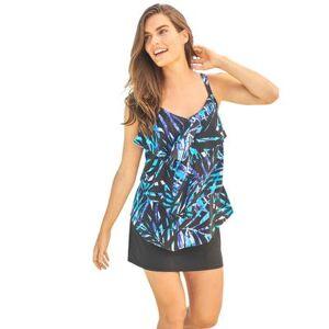 Swim 365 Plus Size Women's Tiered-Ruffle Tankini Top by Swim 365 in Blue Painterly Leaves (Size 18)