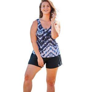 Swim 365 Plus Size Women's Classic Tankini Top by Swim 365 in Tie Dye Zigzag (Size 18)