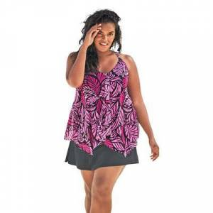 Swim 365 Plus Size Women's Longer Length Mesh Tankini Top by Swim 365 in Bright Fuchsia Leaf (Size 18)