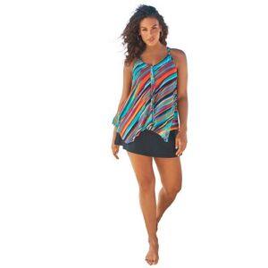Swim 365 Plus Size Women's Longer Length Mesh Tankini Top by Swim 365 in Yellow Painterly Stripes (Size 18)