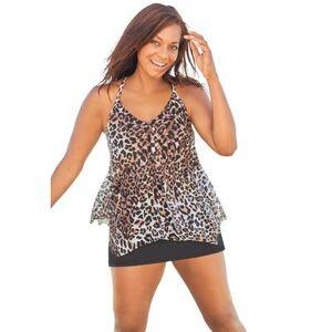 Swim 365 Plus Size Women's Longer Length Mesh Tankini Top by Swim 365 in Classic Leopard (Size 18)