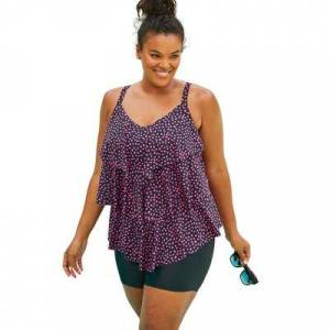 Swim 365 Plus Size Women's Tiered-Ruffle Tankini Top by Swim 365 in Black Pink Dot (Size 18)