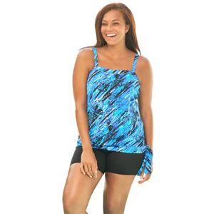 Swim 365 Plus Size Women's Blouson Tankini Top with Adjustable Straps by Swim 365 in Blue Bias Animal (Size 18)
