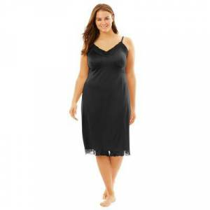 Comfort Choice Plus Size Women's Double Skirted Full Slip by Comfort Choice in Black (Size 18/20)
