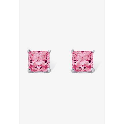 PalmBeach Jewelry Women's Sterling Silver Stud Princess Cut Simulated Birthstone Stud Earrings by PalmBeach Jewelry in October