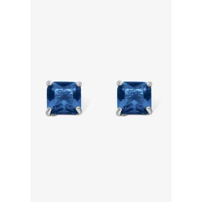 PalmBeach Jewelry Women's Sterling Silver Stud Princess Cut Simulated Birthstone Stud Earrings by PalmBeach Jewelry in September