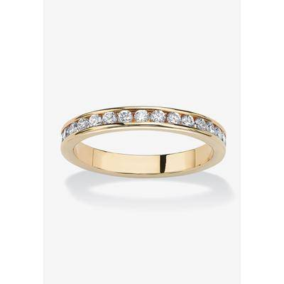 PalmBeach Jewelry Women's Yellow Gold Plated Simulated Birthstone Eternity Ring by PalmBeach Jewelry in April (Size 5)