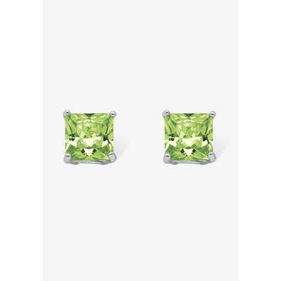PalmBeach Jewelry Women's Sterling Silver Stud Princess Cut Simulated Birthstone Stud Earrings by PalmBeach Jewelry in August