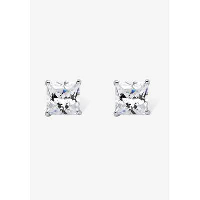 PalmBeach Jewelry Women's Sterling Silver Stud Princess Cut Simulated Birthstone Stud Earrings by PalmBeach Jewelry in April