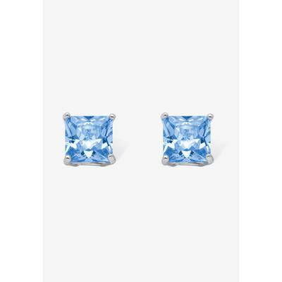 PalmBeach Jewelry Women's Sterling Silver Stud Princess Cut Simulated Birthstone Stud Earrings by PalmBeach Jewelry in March