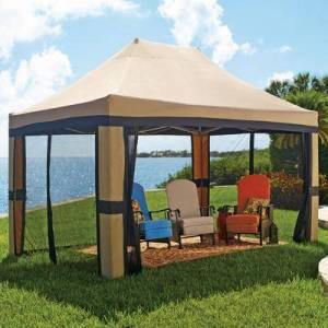 BrylaneHome Oversized 10' x 15' Instant Pop Up Gazebo With Screen by BrylaneHome in Taupe