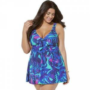Swimsuits For All Plus Size Women's Tie Front V-Neck Swimdress by Swimsuits For All in Palm Leaf (Size 12)