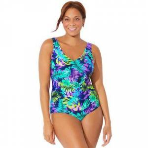 Swimsuits For All Plus Size Women's Chlorine Resistant V-Neck One Piece Swimsuit by Swimsuits For All in Green Tropical (Size 12)