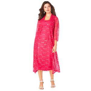 Roaman's Plus Size Women's Lace & Sequin Jacket Dress Set by Roaman's in Pink Burst (Size 32 W)