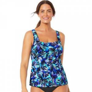 Swimsuits For All Plus Size Women's Chlorine Resistant Square Neck Tankini Top by Swimsuits For All in Purple Green Leaf (Size 18)