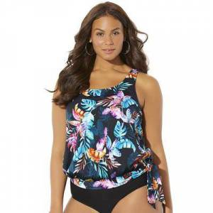 Swimsuits For All Plus Size Women's Side Tie Blouson Tankini Top by Swimsuits For All in Multi Palm (Size 16)