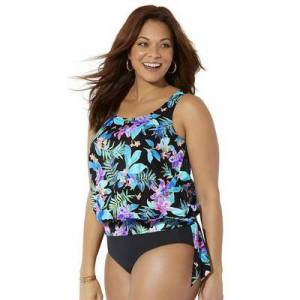 Swimsuits For All Plus Size Women's Side Tie Blouson Tankini Top by Swimsuits For All in Neon Tropical (Size 14)