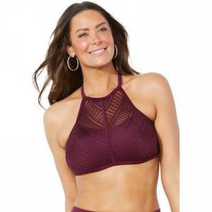 Swimsuits For All Plus Size Women's Charlatan Crochet Bikini Top by Swimsuits For All in Wine (Size 24)