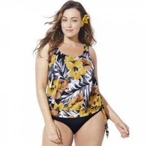 Swimsuits For All Plus Size Women's Side Tie Blouson Tankini Top by Swimsuits For All in Everlasting Floral (Size 14)