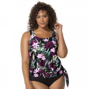 Swimsuits For All Plus Size Women's Side Tie Blouson Tankini Top by Swimsuits For All in Wine Pink Flower (Size 30)