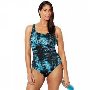 Swimsuits For All Plus Size Women's Chlorine Resistant Spliced Tank One Piece Swimsuit by Swimsuits For All in New Green Labyrinth (Size 12)