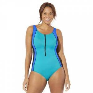 Swimsuits For All Plus Size Women's Chlorine Resistant Lycra Xtra Life Zip Front One Piece Swimsuit by Swimsuits For All in Blue Lagoon (Size 12)
