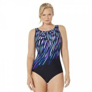 Swimsuits For All Plus Size Women's Chlorine Resistant Lycra Xtra Life High Neck One Piece Swimsuit by Swimsuits For All in Purple Blue Rain (Size 12)