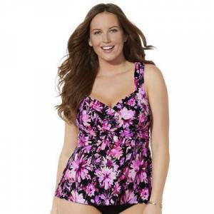 Swimsuits For All Plus Size Women's Sweetheart Wrap Tankini Top by Swimsuits For All in Fuchsia Flowers (Size 12)