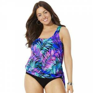 Swimsuits For All Plus Size Women's Side Tie Blouson Tankini Top by Swimsuits For All in Palmtastic (Size 14)