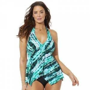 Swimsuits For All Plus Size Women's Handkerchief Halter Tankini Top by Swimsuits For All in Green Tie Dye (Size 8)