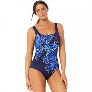 Swimsuits For All Plus Size Women's Chlorine Resistant Lycra Xtra Life Square Neck One Piece Swimsuit by Swimsuits For All in Wispy Bouquet (Size 12)